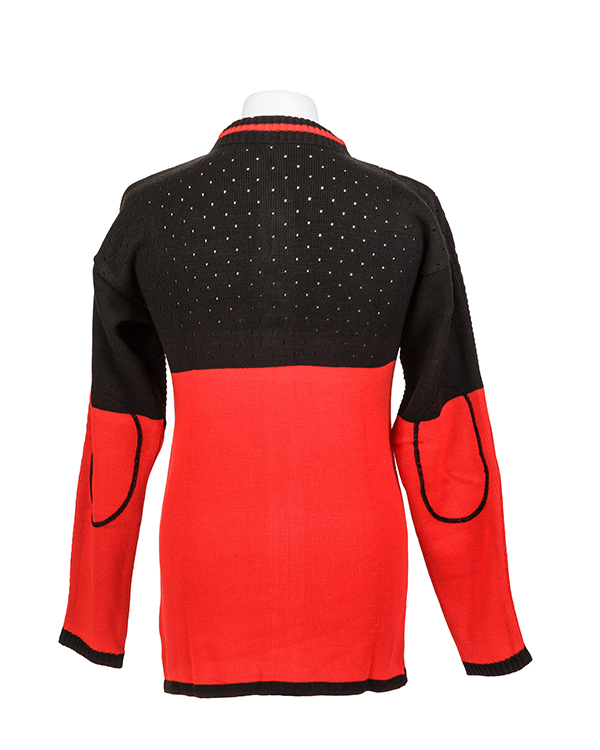 Elastic rib stitch padded target shooting cardigan by Centaur Target Sports - Back view